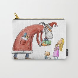 Funny santa claus gift giving illustration Carry-All Pouch