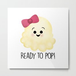 Ready To Pop - Popcorn Pink Bow Metal Print