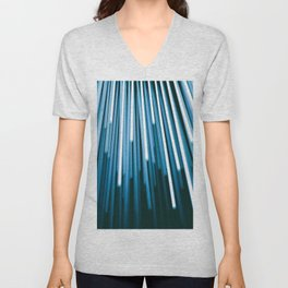 Hyperspace Fiber Optics Blue white Streaks Of Light Unisex V-Neck