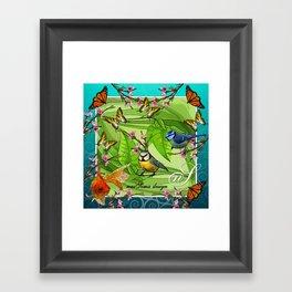 Birdy & Fishy spring blue Framed Art Print