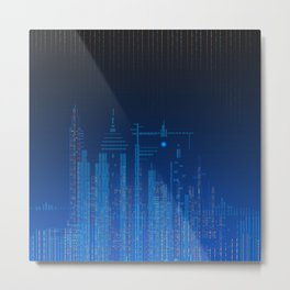 Sky Lines City by Night Metal Print