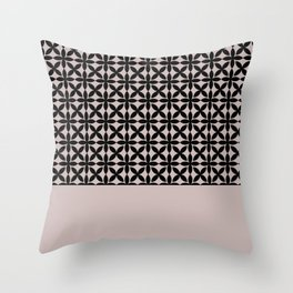 Black Square Petals Graphic Design Pattern on PPG Ash Rose Throw Pillow