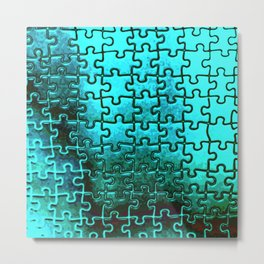 Blue puzzle design Metal Print