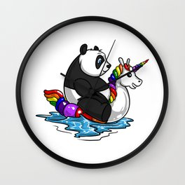 Panda Bear Riding Unicorn Float Pool Party Wall Clock