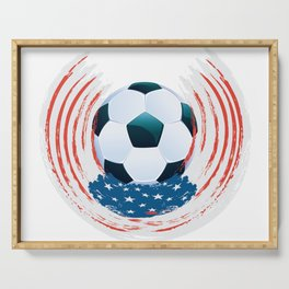 Football Ball and red, white Strokes Serving Tray