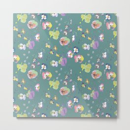 Green pansy Metal Print