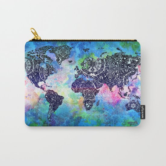 world map mandala watercolor Carry-All Pouch