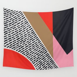 Pink Gold Red Abstract Wall Tapestry