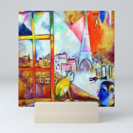 'Paris Through the Window - Eiffel Tower, Seine, & Left Bank' landscape painting by Marc Chagall Mini Art Print