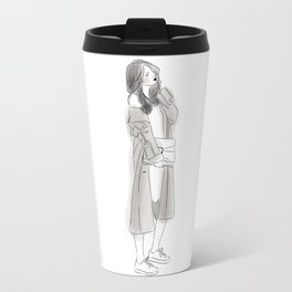 Pretty Woman with Wavy Hair Wearing Grey Long Coat, Sneakers and Hand Bag Travel Mug