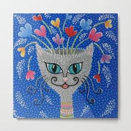 Cat Flowerpot Metal Print