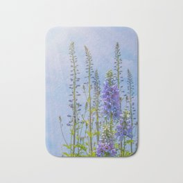 Cornflower Blue and Lavender Foxglove Flowers Bath Mat
