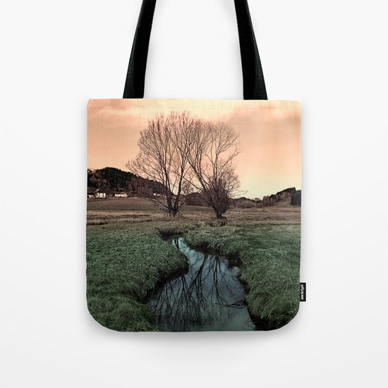 A stream, dry grass, reflections and trees II   waterscape photography Tote Bag