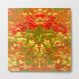 French Nouveau Red-Green Floral Caramel Color Designs Metal Print
