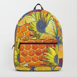 GREY-YELLOW BUTTERFLIES & SUNFLOWERS ARTISTIC HONEYCOMB DRAWING Backpack