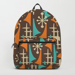 Mid Century Modern Atomic Wing Composition 235 Brown Orange and Turquoise Backpack