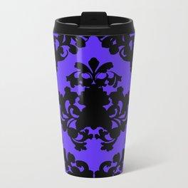 Victorian Damask Purple and Black Travel Mug