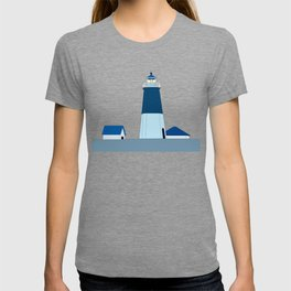 Lighthouse Illustration Beach Decor Ocean Blue T-shirt