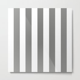 Old silver grey - solid color - white vertical lines pattern Metal Print