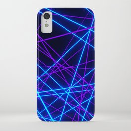 Neon Abstract Line -Blue and Purple, Black- iPhone Case