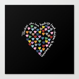Hearts Heart Teacher Black Canvas Print