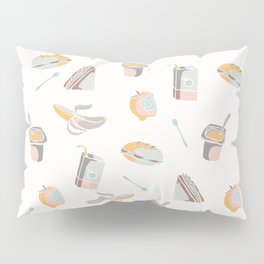 Packed Lunch Seamless Pattern, Hand Drawn Flat Color Vector Food Pillow Sham