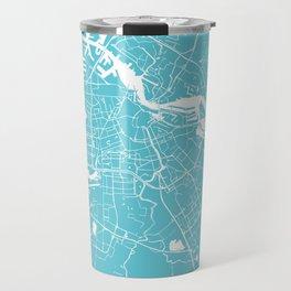 Amsterdam Turquoise on White Street Map Travel Mug