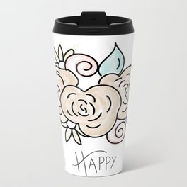 Oh Happy Day Flowers Metal Travel Mug