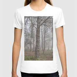 Walking.....Foggy sunrise. Into the woods T-shirt