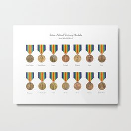 Inter-Allied Victory Medals from World War I - All countries Metal Print