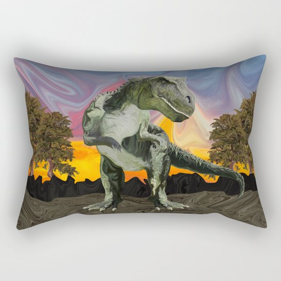 Tyrannosaurus Rex at the Twilight Hour Rectangular Pillow