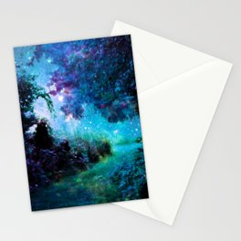 Fantasy Garden Path Teal Purple Stationery Cards