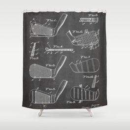 Golf Clubs Patent - Golfing Art - Black Chalkboard Shower Curtain