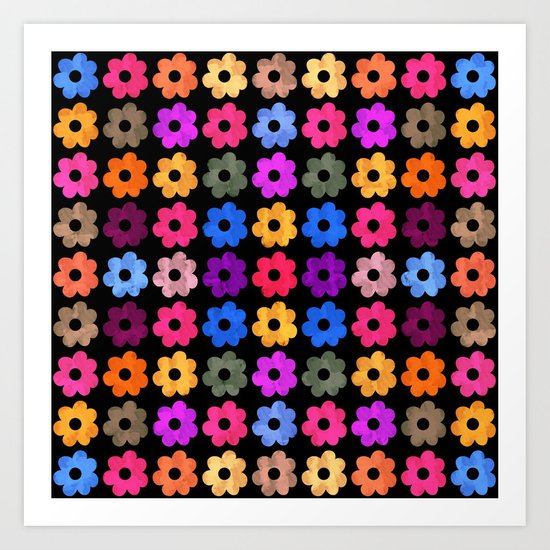 Colorful Floral Pattern III Art Print