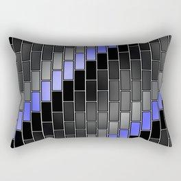 BRICK WALL #2 (Black, Grays & Light Blue) Rectangular Pillow
