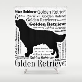 Golden Retriever Silhouette with Typography Shower Curtain