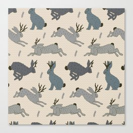 Jackalope Snow Parade Canvas Print
