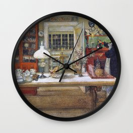 Getting Ready For A Game - Carl Larsson Wall Clock