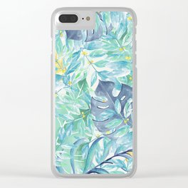 Modern teal green yellow watercolor tropical leaves Clear iPhone Case