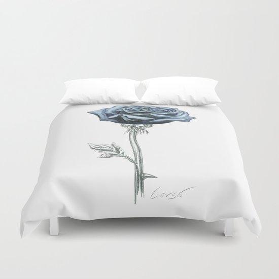 Rose 03 Botanical Flower * Blue Black Rose : Love, Honor, Faith, Beauty, Passion, Devotion & Wisdom Duvet Cover