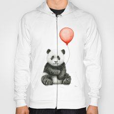 Panda and Red Balloon Baby Animals Watercolor Hoody
