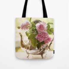 Pink English Roses in a silver Pot- Vintage Rose Stilllife Photography Tote Bag