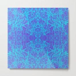 Blue Squiggles Quad Metal Print