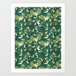 Golden-crowned Kinglets in a Pussy Willow (Greenery) Art Print