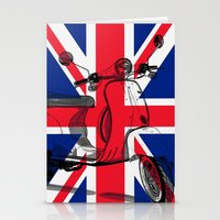british flag Stationery Cards featuring British Flag Scooter by Hello Tokyo Go Go