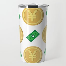 Japanese yen pattern background. Travel Mug