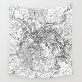 Pittsburgh White Map Wall Tapestry