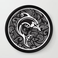 maori Wall Clocks featuring Black Maori Dolphin by freebornline