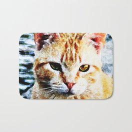 Young Yellow Cat Bath Mat