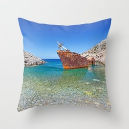 Olympia shipwreck of Amorgos island in Cyclades, Greece Throw Pillow